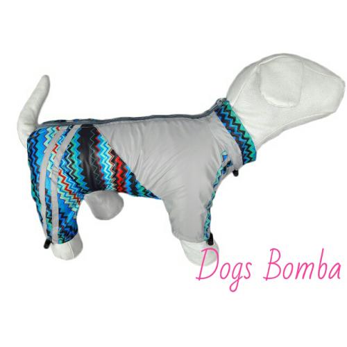 """Дождевик  """"Зигзаг""""синий/серый  Dogs Bomba(подклад флис)"""