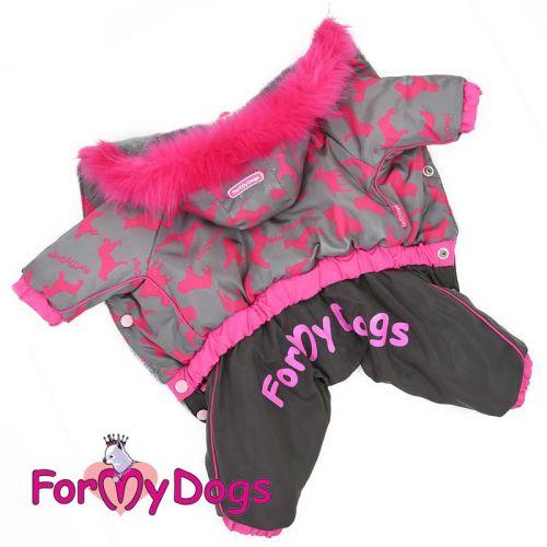 """Зимний комбинезон """"Собачки"""" ForMyDogs серо/розовый для девочек"""